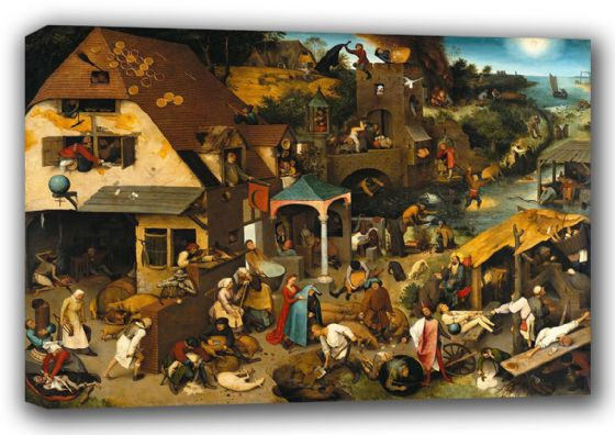 Bruegel the Elder, Pieter: Netherlandish Proverbs Illustrated in a Village Landscape. Fine Art Canvas. Sizes: A3/A2/A1 (00864)